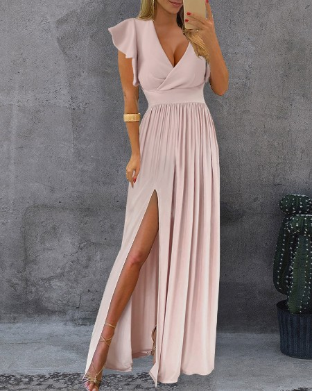 Solid Color Surplice Neck Ruffle Hem Sleeve Slit Thigh Maxi Dress