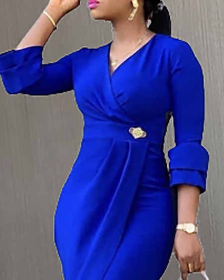 Plus Size Long Sleeve Ruched Bodycon Dress