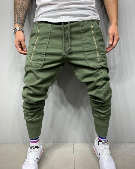Solid Color Skinny Cargo Pants