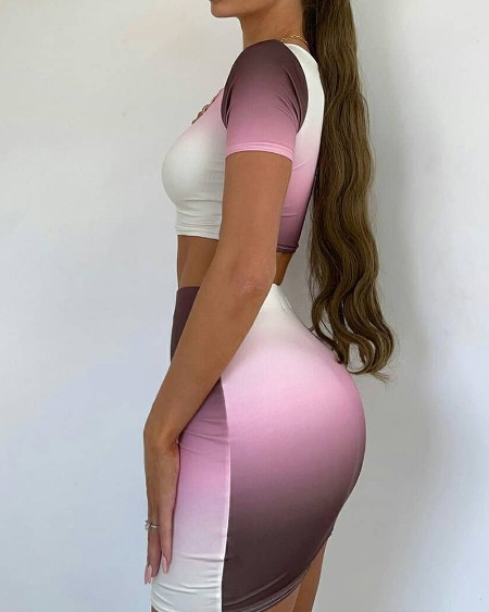 Ombre Colorblock Short Sleeve Crop Top & Mini Skirt Set