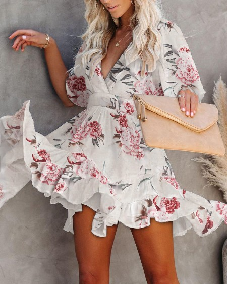 Print Floral Large Bottom Ruffle Dress