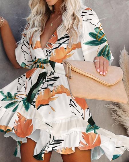 Floral Print V-Neck Ruffle Hem Dress