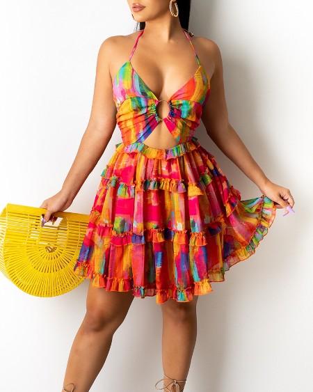 Cami Deep-V Floral Print Dress