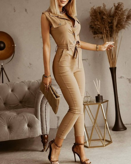Button Front Pocket Design Sleeveless Jumpsuit With Belt