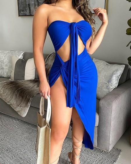 Solid Color Twist Split Thigh Cut-Out Tie Front Tube Dress