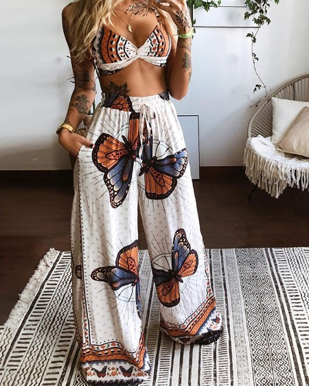 Butterfly Graphic Print Crop Top & Wide Leg Pants Set