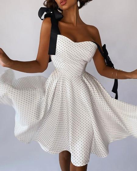 Polka Dot Knot Shoulder Zipper Back Midi Dress