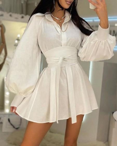 Lantern Sleeve Buttoned Pleated Shirt Dress