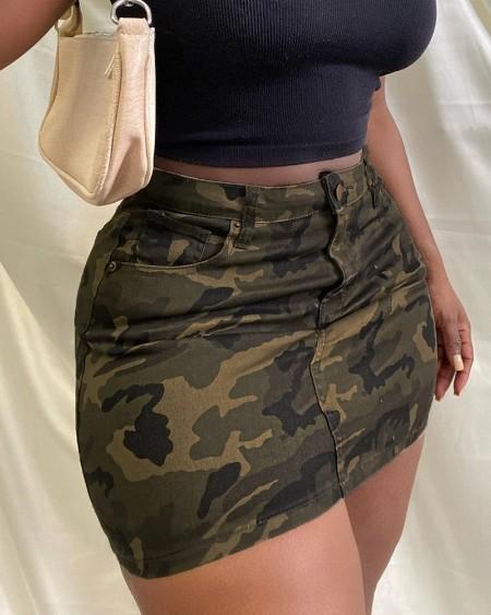 Single Button Pocket Design Camouflage Print Skirt