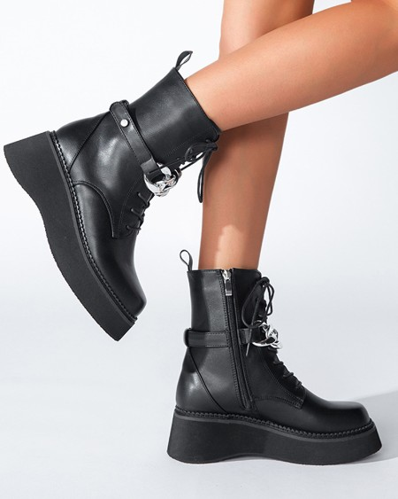 Chic Women Round Toe Lace Up Flatform Martin Boots With Chain