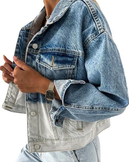 Casaco jeans com design de bolso com botão Colorblock