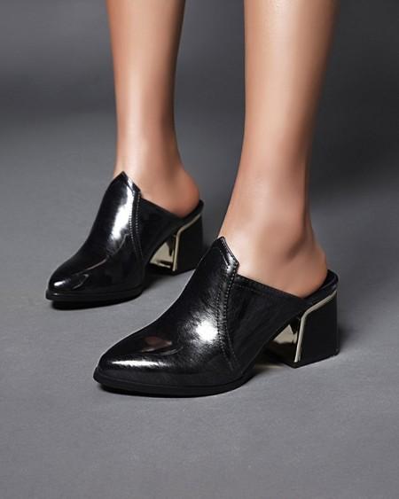 Womens Point Toe Shiny Finish High Heel Mules