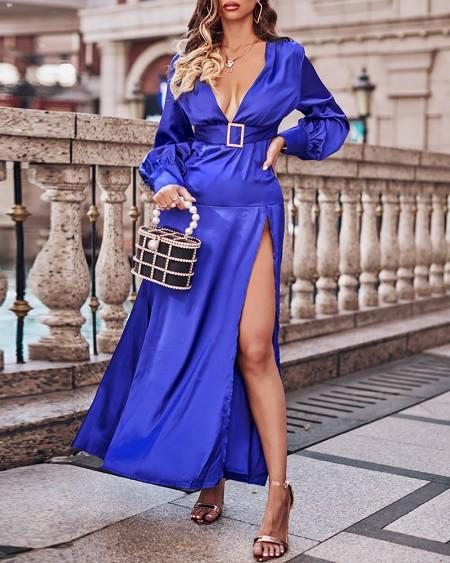 Lantern Sleeve High Slit Satin Maxi Dress With Belt