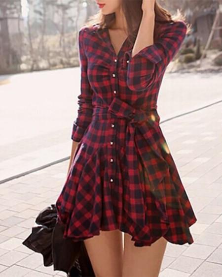 Plaid Ruffles Hem Button Front Shirt Dress Women