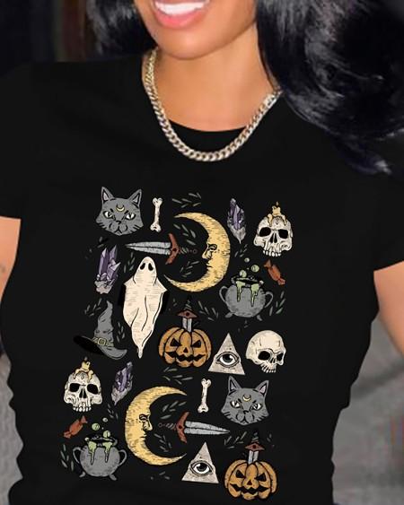 Halloween Graphic Print Short Sleeve T-shirt