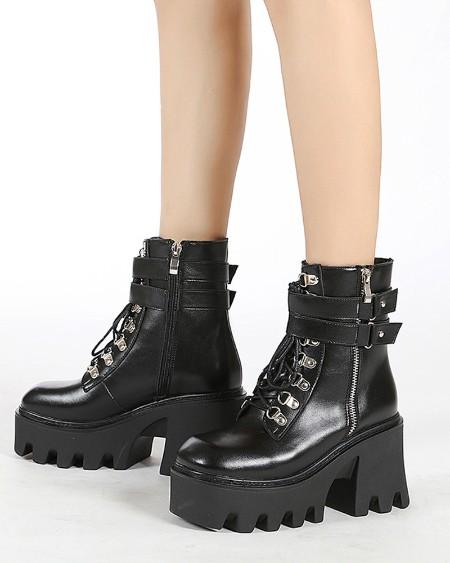 Womens Round Toe Oil Finish Zipper Platform Martin Boots