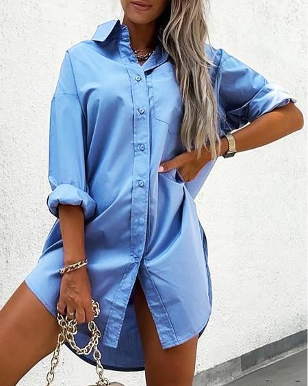 Pocket Design Buttoned Long Sleeve Shirt Dress