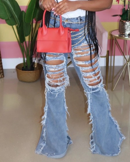 Ladder Cut Out Fringe Hem Bootcut Jeans
