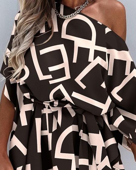 Letter Print Skew Neck Half Sleeve Dress