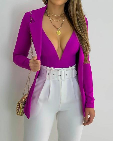 Plunging Neck Skinny Bodysuit & Lapel Collar Blazer Set