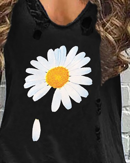 V Neck Hollow Out Daisy Print Dress