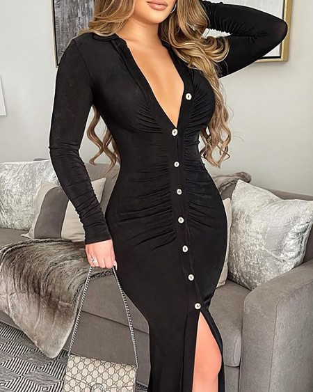 Long Sleeve Button Design Ruched Slit Maxi Dress