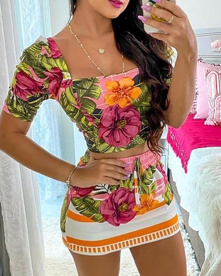 Tropical Print Square Neck Crop Top & Drawstring Skirt Set