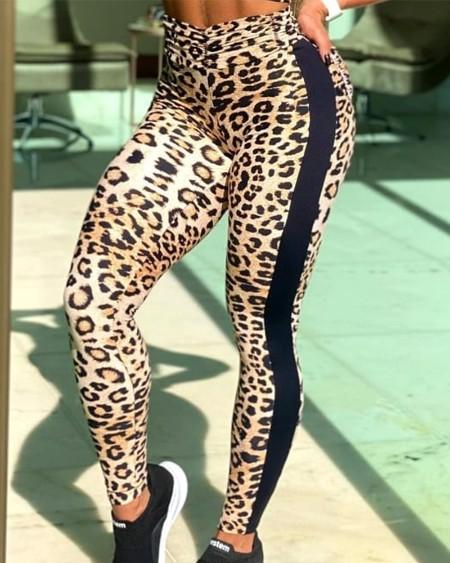Color Block Splicing Leopard Skinny Sport Yoga Pants