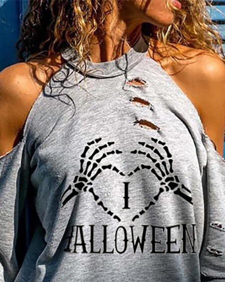 Halloween Letter Heart Skeleton Print Cutout Top