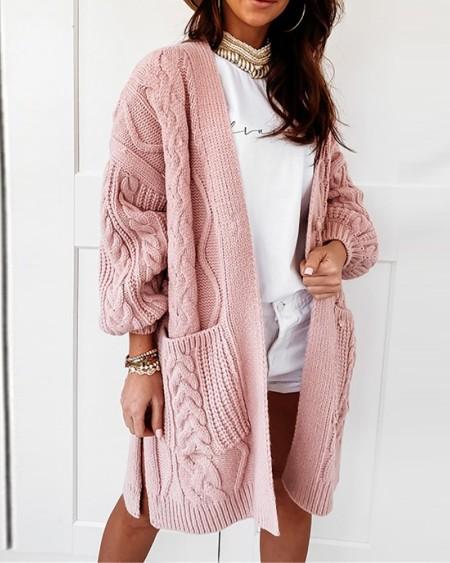 Knit Long Sleeve Pocket Design Cardigan