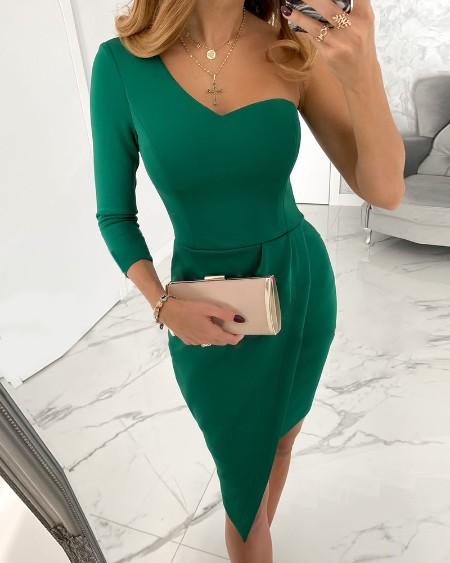 Plain One Shoulder Asymmetrical Dress