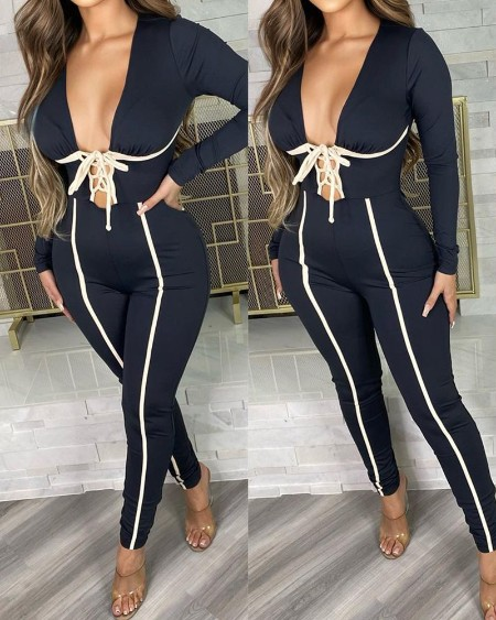 Long Sleeve Lace-up Skinny Jumpsuit
