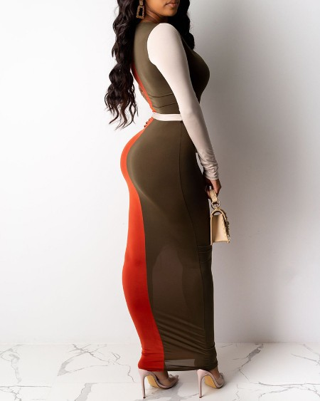 Plunge Long Sleeve Colorblock Maxi Dress With Belt