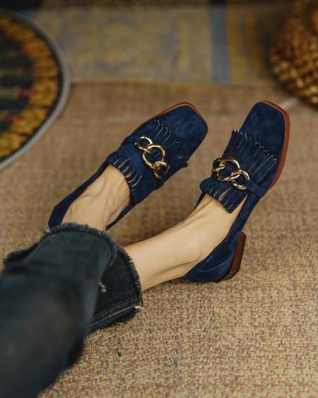 Suede Chain Decor Tassel Design Loafers