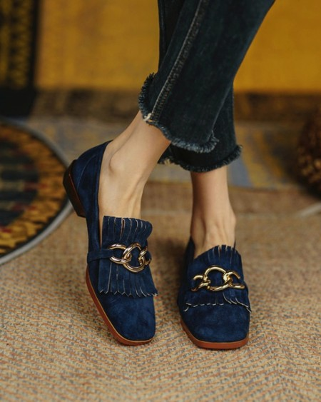 Square-toe Solid Color Suede Leather Splicing Tassel Loafers