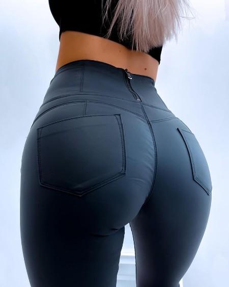 Zip Back Pocket Design High Waist Pants
