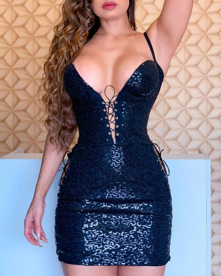 Spaghetti Straps Eyelet Lace-up Sequin Dress