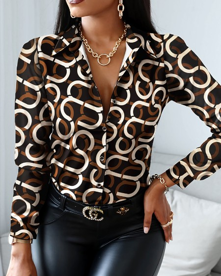ChicMe All Over Print Long Sleeve Button Through Shirt