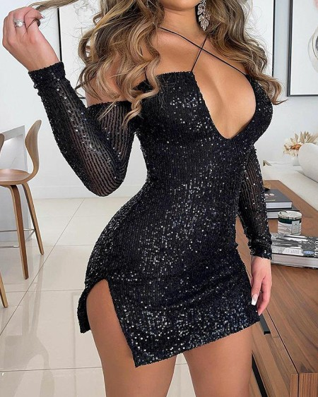 Sequin V-Neck Split Hem Mini Dress