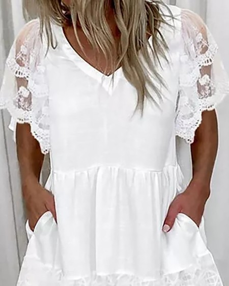 Crochet Lace Pocket Design Short Sleeve Casual Dress