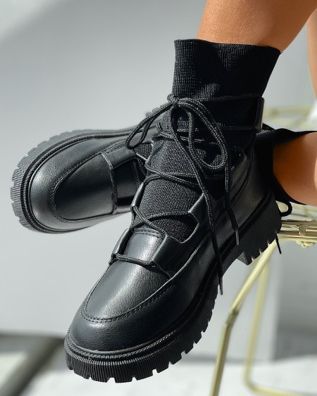 Lace-up Front Knit Flatform Boots