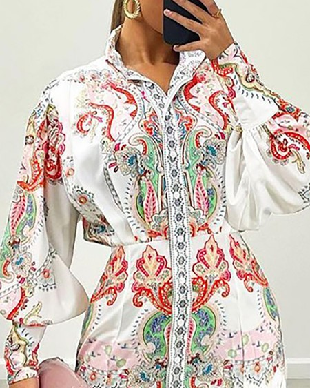 Paisley Print Buttoned Lantern Sleeve Maxi Shirt Dress