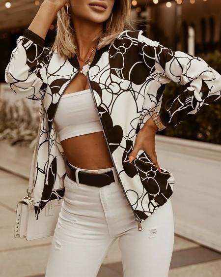 Colorblock/Floral/Leaf Print Zipper Decor Coat