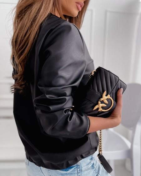 Geo Tape Zip Front Pocket Design PU Leather Jacket Chic Geometric Zipper Daily Coat
