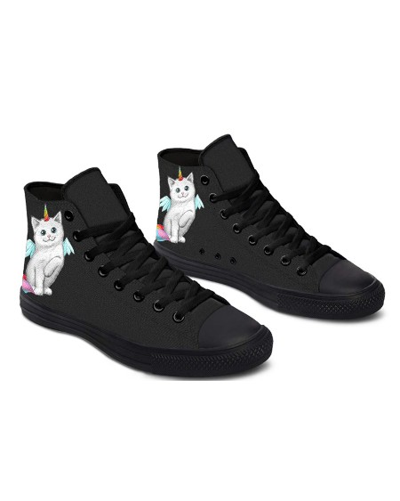 Womens Cat Unicorn Round Toe Lace-up High Top Canvas Casual Shoes