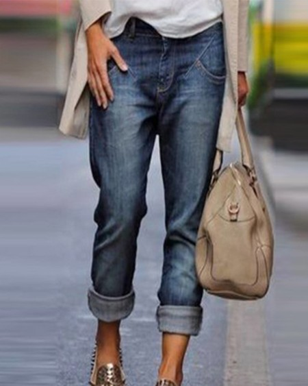 Solid Washing Effect Denim Pants Jeans
