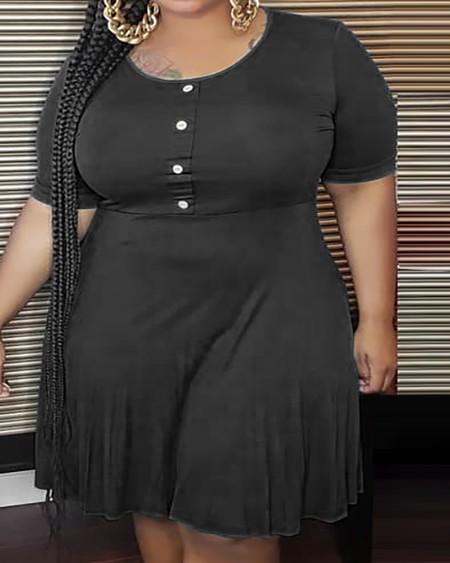 Plus Size Button Design Short Sleeve Ruched Dress