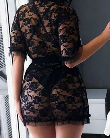 Lace Sheer Mesh Plunge Teddy