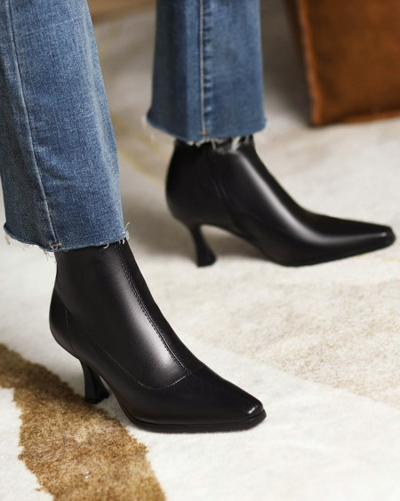 Womens Square Toe Wax Finish High Heel Boots
