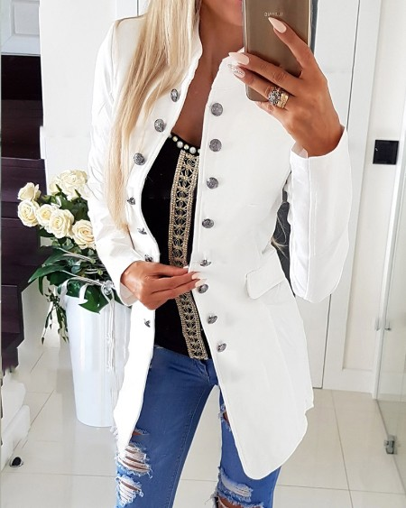 Long Sleeve Double Breasted Flap Detail Pea Coat